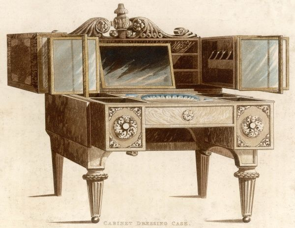 'Cabinet Dressing Case' an ornate dressing table housing a wash basin, mirrors, and a number of convenient shelves and niches for storing toilet articles