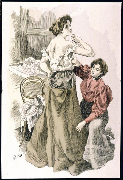 A woman at the dressmakers stands in her chemise while the dressmaker takes some measurements
