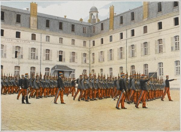Drill parade at Saint-Cyr, France's leading military academy of Saint-Cyr, founded by Napoleon I and located near Fontainebleau (since then it has been relocated)