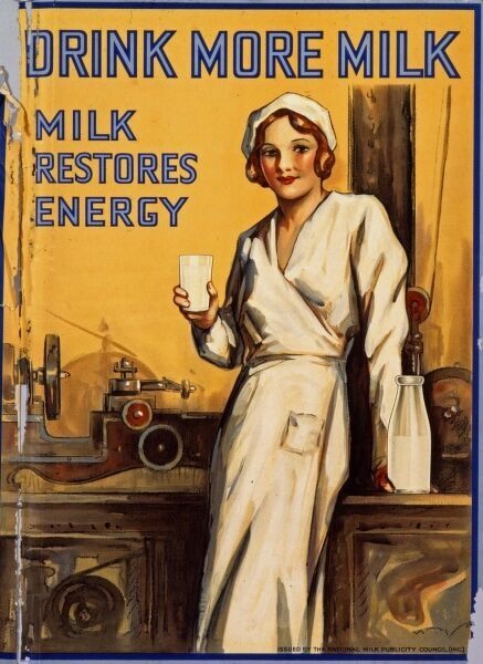 Poster issued by the National Milk Publicity Council showing a pretty, and wholesome looking dairy worker enjoying a glass of fresh milk