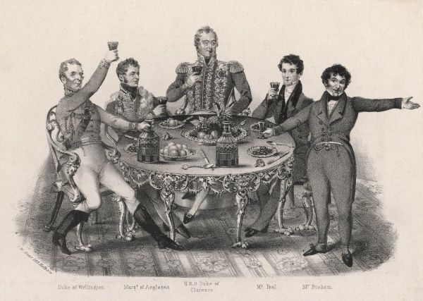 A drinking party : the duke of Wellington, the marquis of Anglesey, the duke of Clarence, Robert Peel and Mr Braham