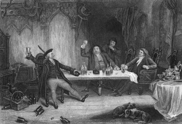 Rich man or poor man - they all like a drop to drink: three Scottish noblemen imbibe in a baronial hall. Date: late 18th century