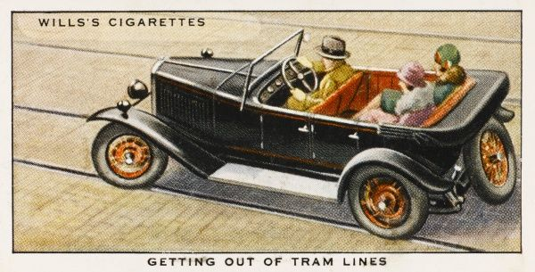 'It is always inadvisable to motor along a tram track, for tramlines, especially if they are wet, are most 'skid- provoking&#39