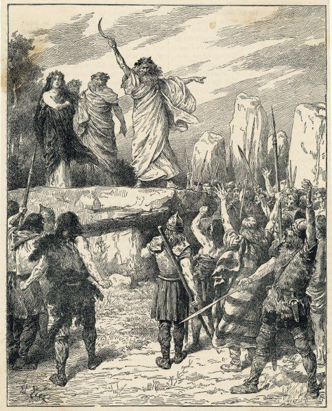 Druids incite Britons to oppose the landing of the Roman invaders