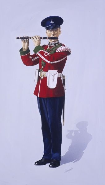 Drummer (Flute / Fife) Player - The Green Howards (Alexandra Princess of Wales's Own Regiment of Yorkshire) in Full Dress. Wearing a Nol Dress Cap. Painting by Malcolm Greensmith