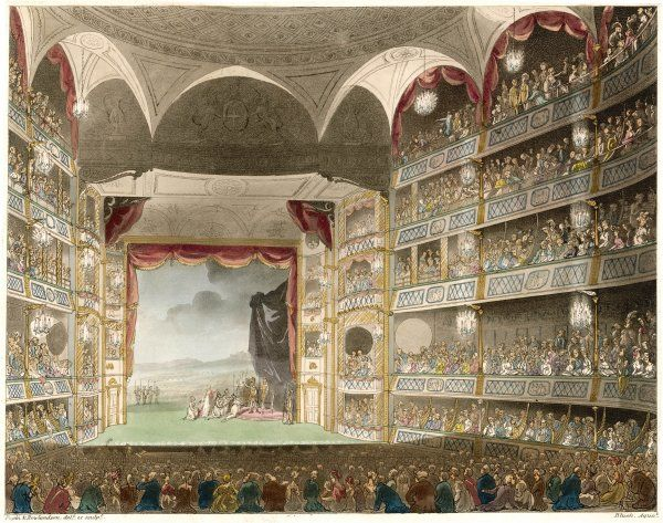 The interior of the theatre during a performance of Shakespeare's 'Coriolanus&#39