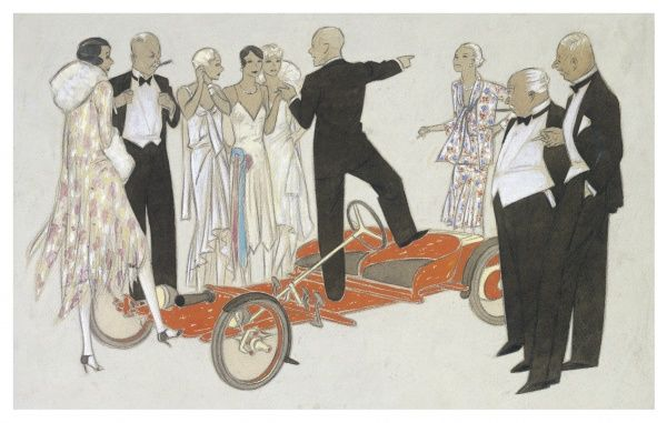 Elegant men and women gather round a pedal car