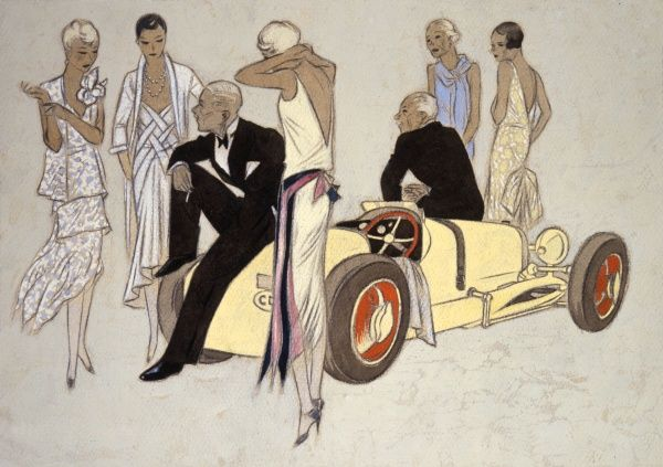 Elegant men and women gather round a sports car