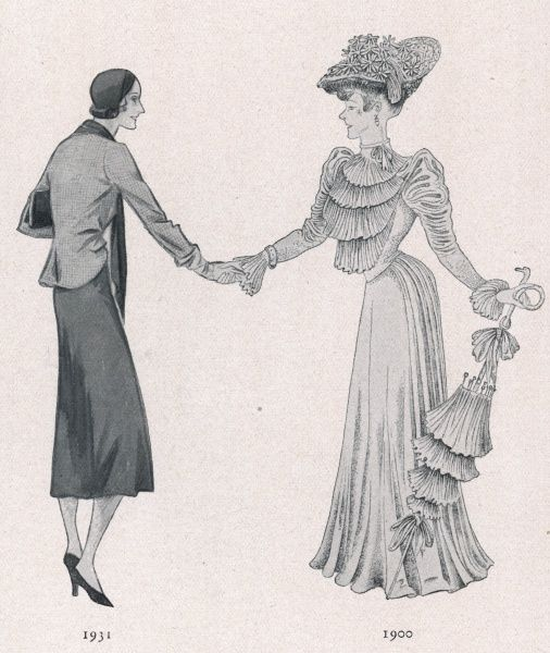 The costume of 1900 shakes hands with the fashion of the day (1931)