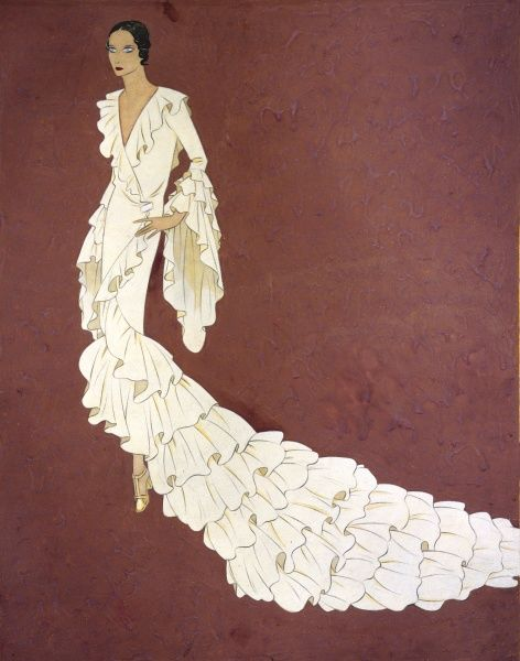A white dress to illustrate 'flounce' Date: circa 1928