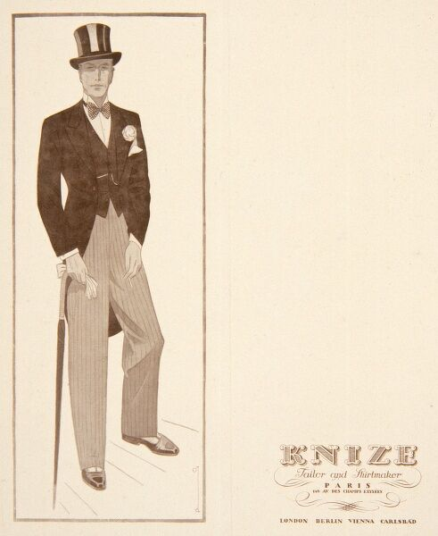 Display card for Knize menswear featuring an elegant gentleman in a morning suit