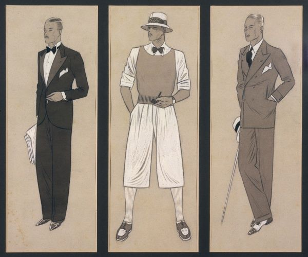 Fashions for men: Formal, casual and sporty looks: evening dress with black tie, suit with double- breasted jacket, panama hat, knitted vest & flannel shorts