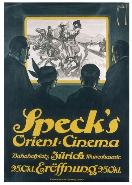 Poster advertising Speck's Orient Cinema, Zurich, featuring a Western in this advertisement