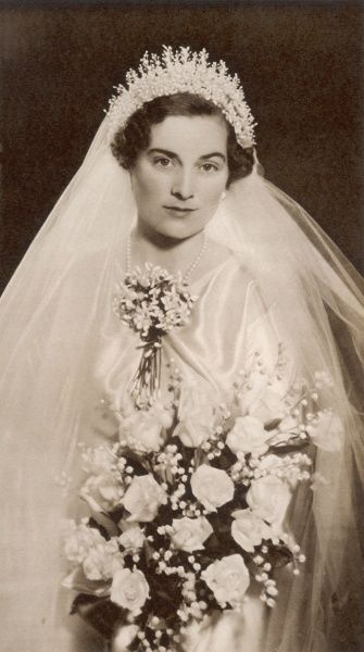 The beautiful wedding gown worn by Lady Alice Montagu-Douglas-Scott. Princess Alice, Duchess of Gloucester shown in her wedding dress worn for her marriage to Prince Henry, Duke of Gloucester in November 1935