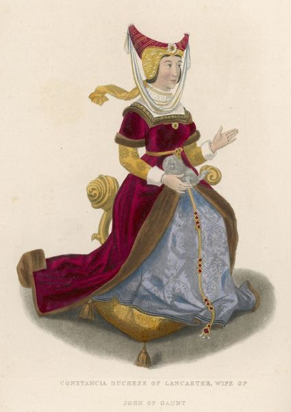 CONSTANCE OF GAUNT (married in 1369) depicted wearing a horned headdress with veil. In this later image she is shown in costume of both the 15th & 16th centuries