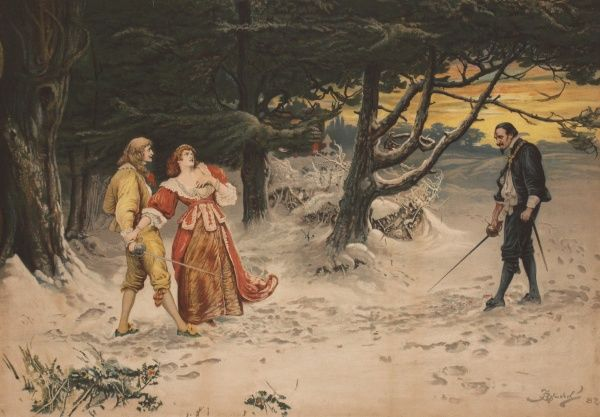 Painting by Fred Barnard depicting two men duelling while a young woman dramatically throws herself in front of the younger, better-looking, less evil one
