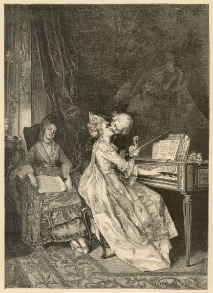 A violinist kisses a woman at the piano while their chaperone is sleeping