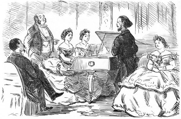 "Emily:(sotto voce) My goodness, Edith, what shall I do? My nose itches so dreadfully, and we are coming to the most difficult part."" Date: 1863"