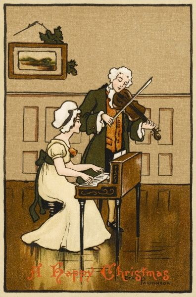 He plays the violin wearing a wig, she accompanies him wearing a bonnet