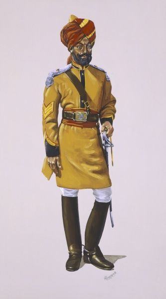 "Duffadar (Sergeant) of The First Bengal (Lancers) Cavalry. ""Skinners Horse"". Painting by Malcolm Greensmith"
