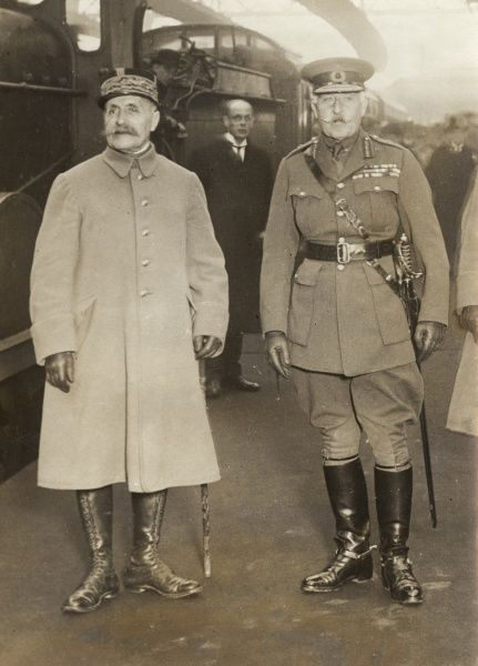 Prince Arthur, Duke of Connaught (1850-1942) meeting Marshal Ferdinand Foch (1851-1929), General in the French Army, at Charing Cross Station, London, probably on the way to a conference at Chequers. Date: circa 1921