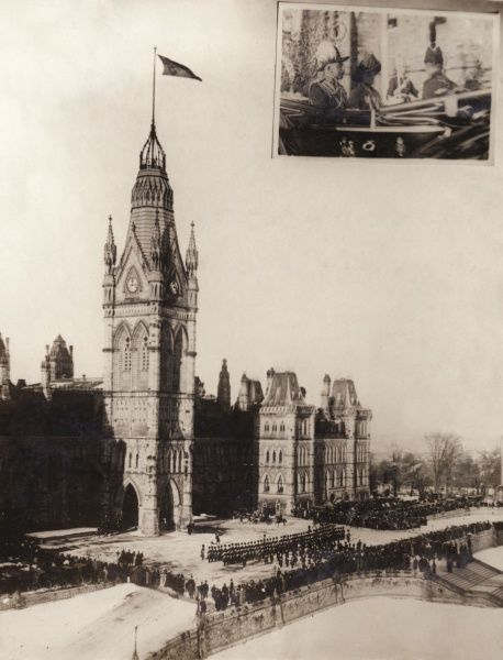 Prince Arthur, Duke of Connaught and Strathearn (1850-1942), Governor General of Canada, opening the Canadian Parliament. General scene showing the arrival of the Duke and Duchess at the parliament buildings in Quebec. Inset is a photograph of the Duke