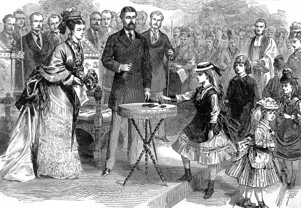 Engraving of Prince Alfred, Duke of Edinburgh (1844-1900) and the Duchess of Edinburgh (formerly Maria Alexandrovna, Grand Princess of Russia) visiting the Seamen's Children's Nurery at Wellclose Square in the London Docks