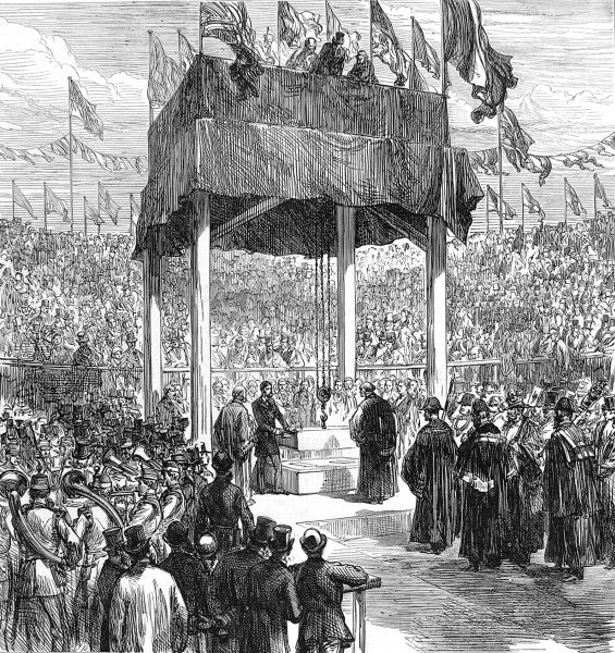 Prince Alfred, Duke of Edinburgh laying the foundation stone for the Walker Art Gallery in King William Street, Liverpool in 1874
