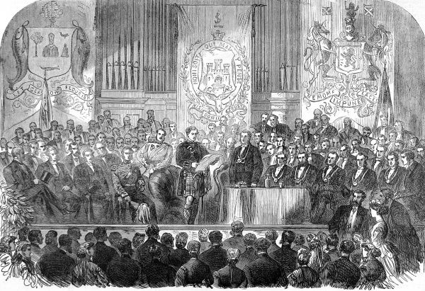 Prince Alfred, Duke of Edinburgh receiving the freedom of the City of Glasgow during a visit in 1866