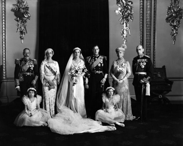 A photograph of the royal wedding between Prince George, Duke of Kent and Princess Marina of Greece. Date: 29th November 1934