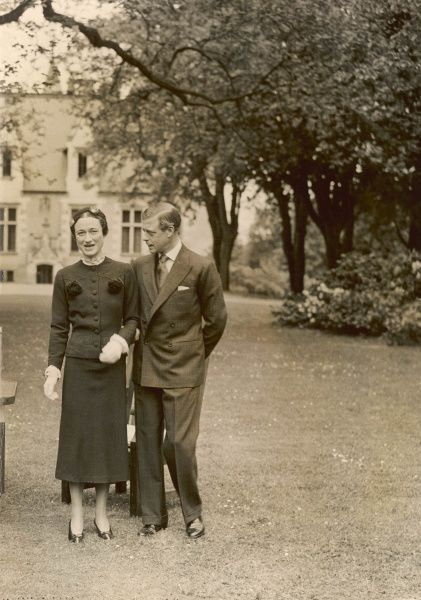 The Duke of Windsor, formerly King Edward VIII, pictured with Mrs. Wallis Simpson in May 1937 at the Chateau de Cande. Edward abdicated the throne in December 1936 in order to marry Wallis on 3rd June 1937