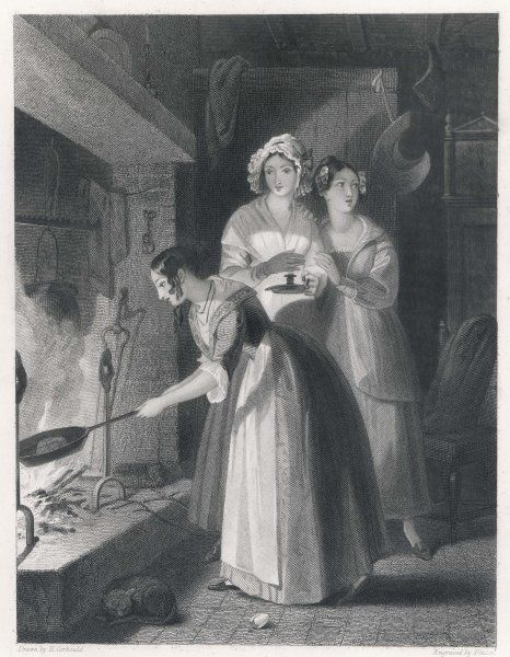 BAKING THE DUMB-CAKE At Hallowe'en, St John's Eve or other feasts, young women bake a cake in expectation of seeing their beloved : it must be done in total silence
