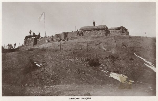 Duncon Picquit (Duncan Picket) - a small hilltop fortification on the outskirts of Shimla (Simla), India. Possibly named after British General in Shimal in the early 19th century - General Duncan Macleod. Date: circa 1910s