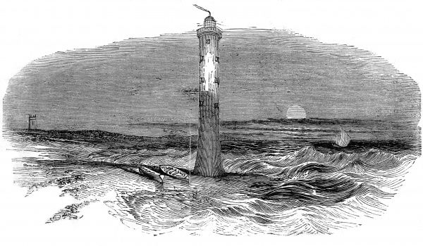Engraving of the Dungeness Lighthouse, Kent, February 1843. This lighthouse was constructed, to a design by James Wyatt, by the Earl of Leicester, circa.1800