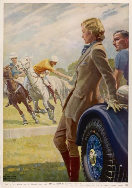 Advertisement for Dunlop tyres showing spectators watching a polo match