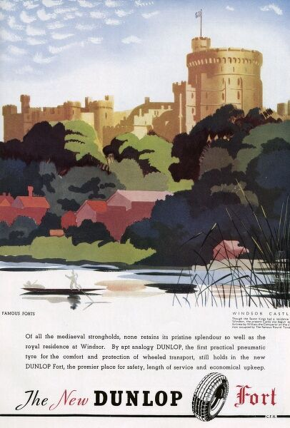 A Dunlop advertisement featuring an illustration of Windsor Castle. 1937