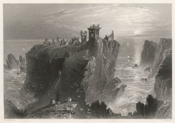 The ruins of Dunotter Castle, near Stonehaven, perched on a clifftop at sunset, with a wild sea below