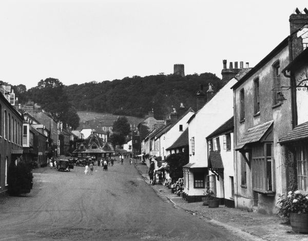 View of the main street of Dunster, Somerset