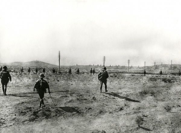 Members of the Dunsterforce infantry in action in the desert near the Turkish front during the First World War