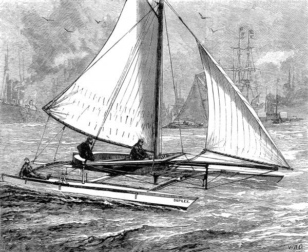 Engraving of a Duplex Catamaran, built in Rhode Island USA, for Mr. Henry N. Custance, honorary treasurer of the Corinthian Yacht Club, August 1880. The engraving shows the vessel near her moorings on the River Thames at Erith. The catamaran was 33 feet long