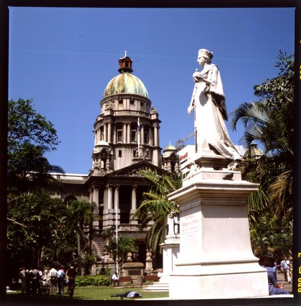 City Hall, Durban, South Africa, with the statue of Queen Victoria in front of it
