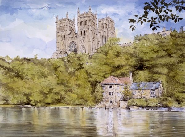 The classic view looking up toward the majestic Norman Cathedral at Durham from the Western bank of the River Wear. Painting by Malcolm Greensmith