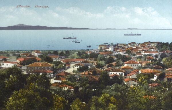 Durres (Durazzo), Albania. Located on the central Albanian coast at one of the narrowest sections of the Adriatic Sea. Date: circa 1910s