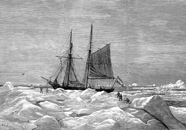 Engraving of the schooner 'Willem Barents' in the drift ice, during the Dutch Arctic Expedition of 1878. This expedition, commanded by Lieutenant de Bruyne, explored Jan Mayen Island, Spitzbergen, Bear Island and Novaya Zemlya between May