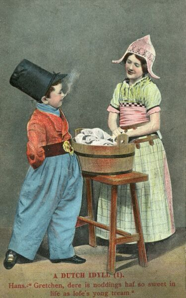 A Dutch boy and girl, Hans and Gretchen, have a conversation over a washtub