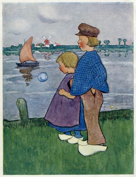 A Dutch boy and girl by the waterside -- Double Dutch. Date: 1900