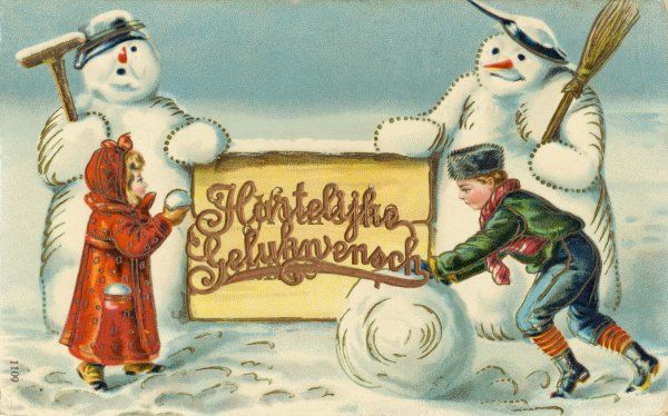 Two Dutch children, two Dutch snowmen, and a Christmas greeting in Dutch