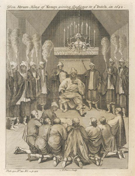 Don Alvaro, king of Kongo, gives audience to a Dutch delegation Date: 1642