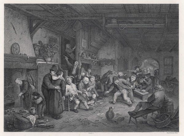 A family gathering in a Dutch household - gossipping, drinking, playing games
