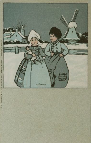 A Dutch girl and boy in a snowy landscape, with a windmill in the background. The girl is holding a doll